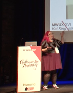 Photo of Kat King speaking at MWUX